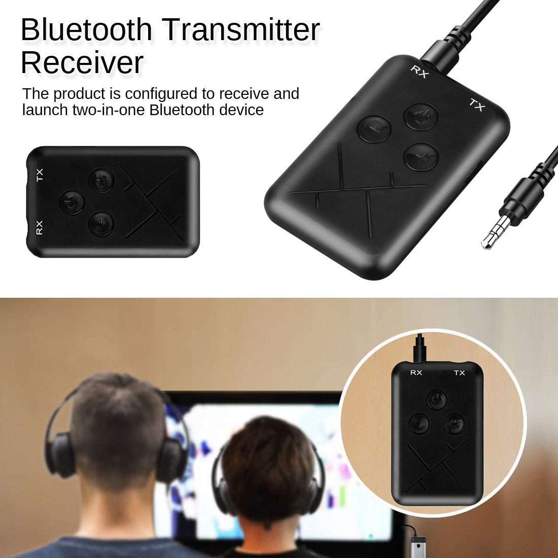 Audio Adapter 3.5mm Music USB Adapter 2in1 Bluetooth 4.2 Transmitter And Receiver Stereo