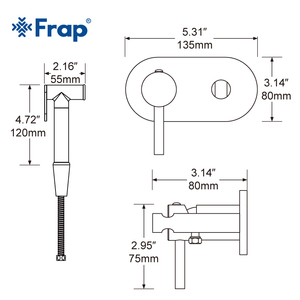 Image 3 - Frap Bidet Faucet Brass Shower Tap Washer Mixer Muslim Shower Ducha Higienica Cold & Water Mixer Crane Round Shower Spray F7505