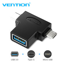 Vention Type C USB Adapter USB 3.0 OTG Adapter Cable 2 in 1 Micro USB OTG Converter for Xiaomi One Plus Nexus 6P All in one(China)