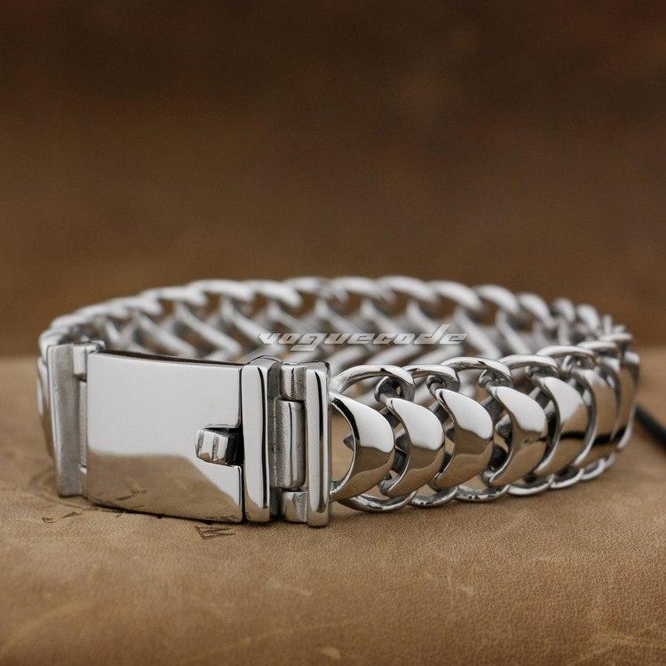 17 longueur en acier inoxydable 316L hommes Biker Rocker Bracelet 5E007 Punk bijoux (longueur 9.0 pouces)