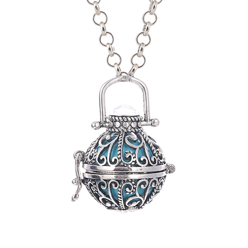 Women Angel Ball Metal Long Chain Necklace Antique Silver