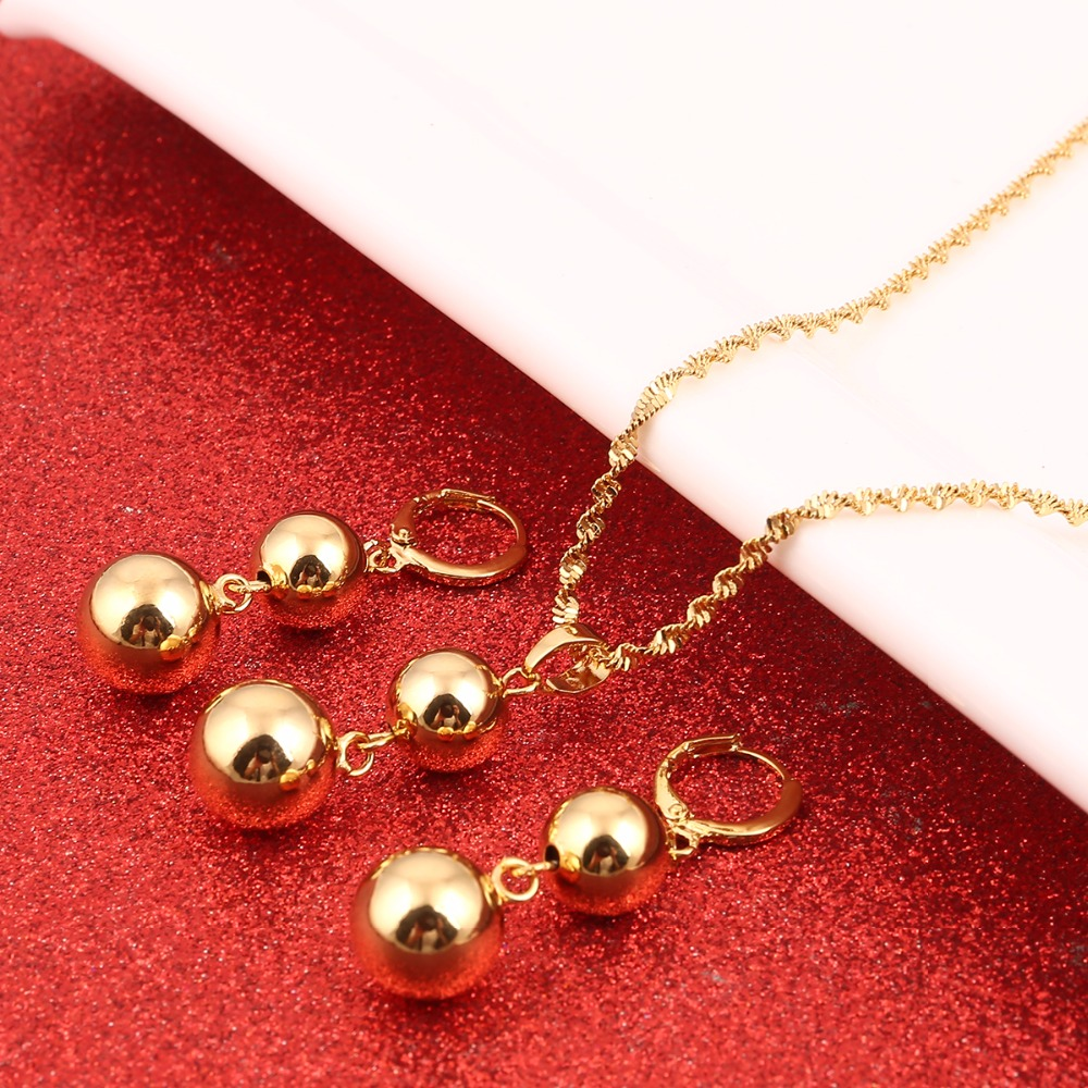 Hot Fashion Gold Color Ball Bead Beads Earrings Pendant Jewelry Set Necklace For Women