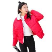 2018New Loose Autumn Winter Women Short Parkas Female Stand Collar Button Down Cotton Jacket Winter Women Coats Padded MujerQ564
