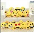 12 Estilos Emoji Smiley Emoticon Amarelo Rodada Almofada Travesseiro Macio Recheado Boneca de Brinquedo de Pelúcia Presentes de Natal Frete Grátis