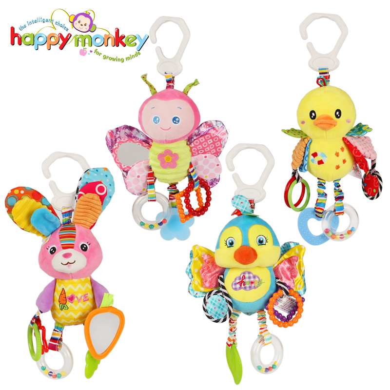 1 Pcs Baby Animal Rattles Toy Kid Soft Butterfly Baby Bed Bell With BB Sounds Bell Plush Toy Infant Stroller/Bed/Cribhanging Toy