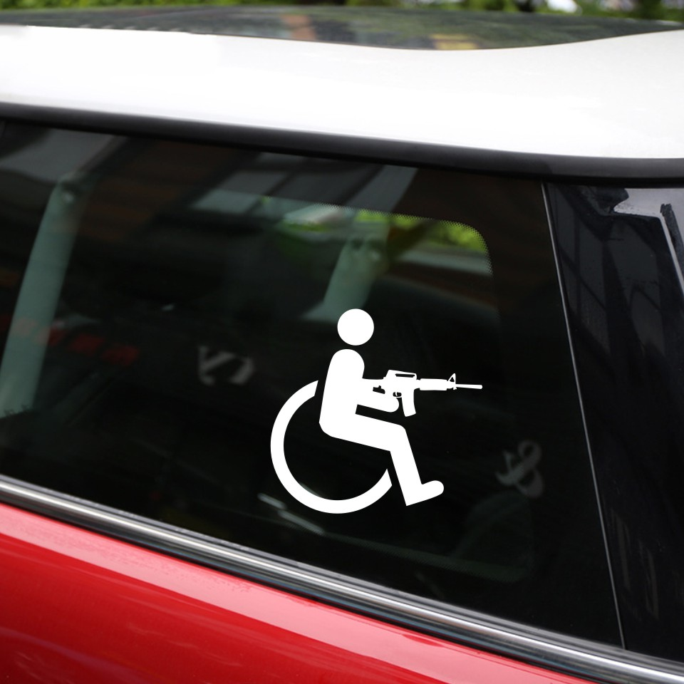 Anycuros handicapped wheelchair gun creative vinyl car styling stickers decals 15cm16cm 11