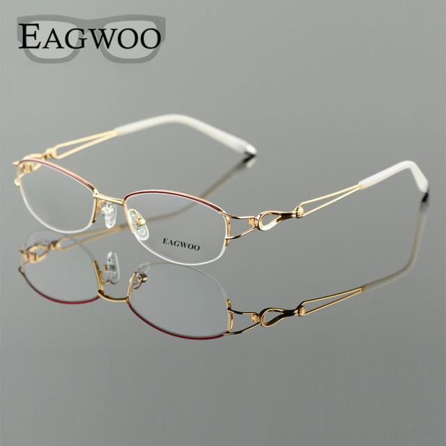 Liga Metel Óculos Metade Aro Da Armação Óptica Prescrição Mulheres Óculos De Leitura Espetáculo Miopia Olho Flor Azul Roxo 52223