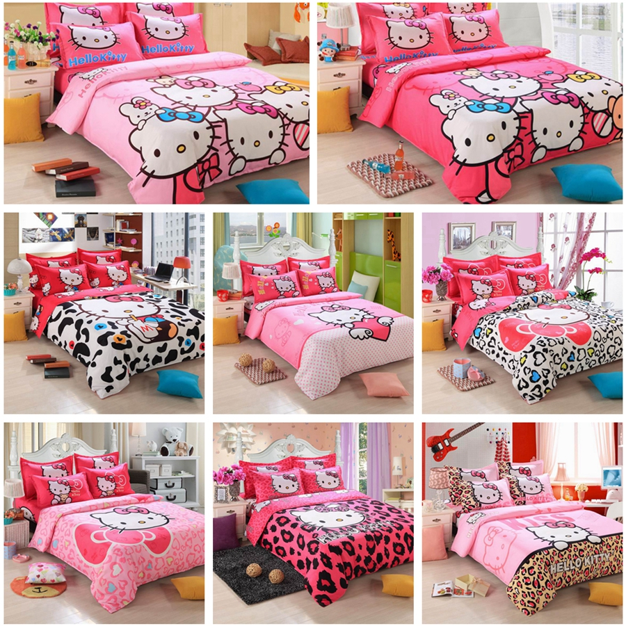 Pink hello kitty bedsheet - 19 Print Hello Kitty Bedsheet 4pcs 3d Bedding Sets King Size Duvet Cover Bed Sheet Pillowcase