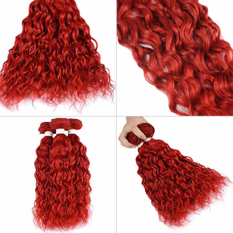 Alfileres de la onda de agua brasileña paquetes de 1/4 piezas de pelo rojo borgoña paquetes Pre-color del pelo humano paquete no reumáticas de la armadura del pelo no arrojar
