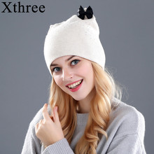 094a10ea2785 Xthree fourrure de Lapin laine tricoté chapeau d hiver printemps Skullies  bonnets chapeau pour les femmes filles kitty chapeau f.
