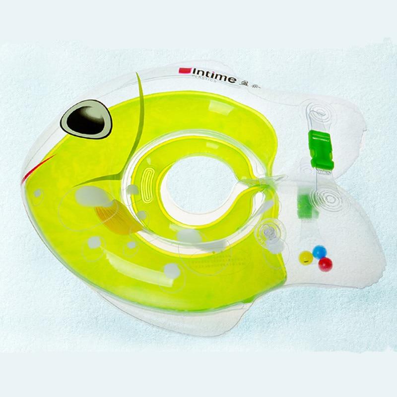 Kartun ikan bayi leher terapung berenang cincin laras leher ganda melindungi bayi berenang terapung pelampung aksesori kolam renang