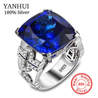 YANHUI Vintage Jewelry 3ct Blue Natural Stone 925 Sterling Silver Ring Crystal Women Wedding Anel Aneis