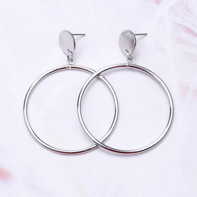 c7731344d ... EK197 New Arrival Silver/Gold Color Long Hollow Big Round Earrings  Hiphop Simple Circle Earring