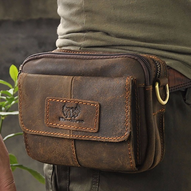 Men Genuine Leather Military Fanny Waist Pack Oil Wax/Crazy Horse Cowhide Small Cross Body Bags Vintage Shoulder Messenger Bag
