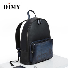 DIMY 2018 NEW Fashion Mens Backpacks Handmade Cow Genuine Leather Solid school Bags Business Male Ipad 15 inches #8731