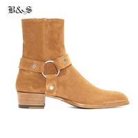 Black& Street High Top Handmade Wyatt Harry Buckle Ring Strap Men Chelsea Boots Wedge Leather Denim Banquet Harness Boots