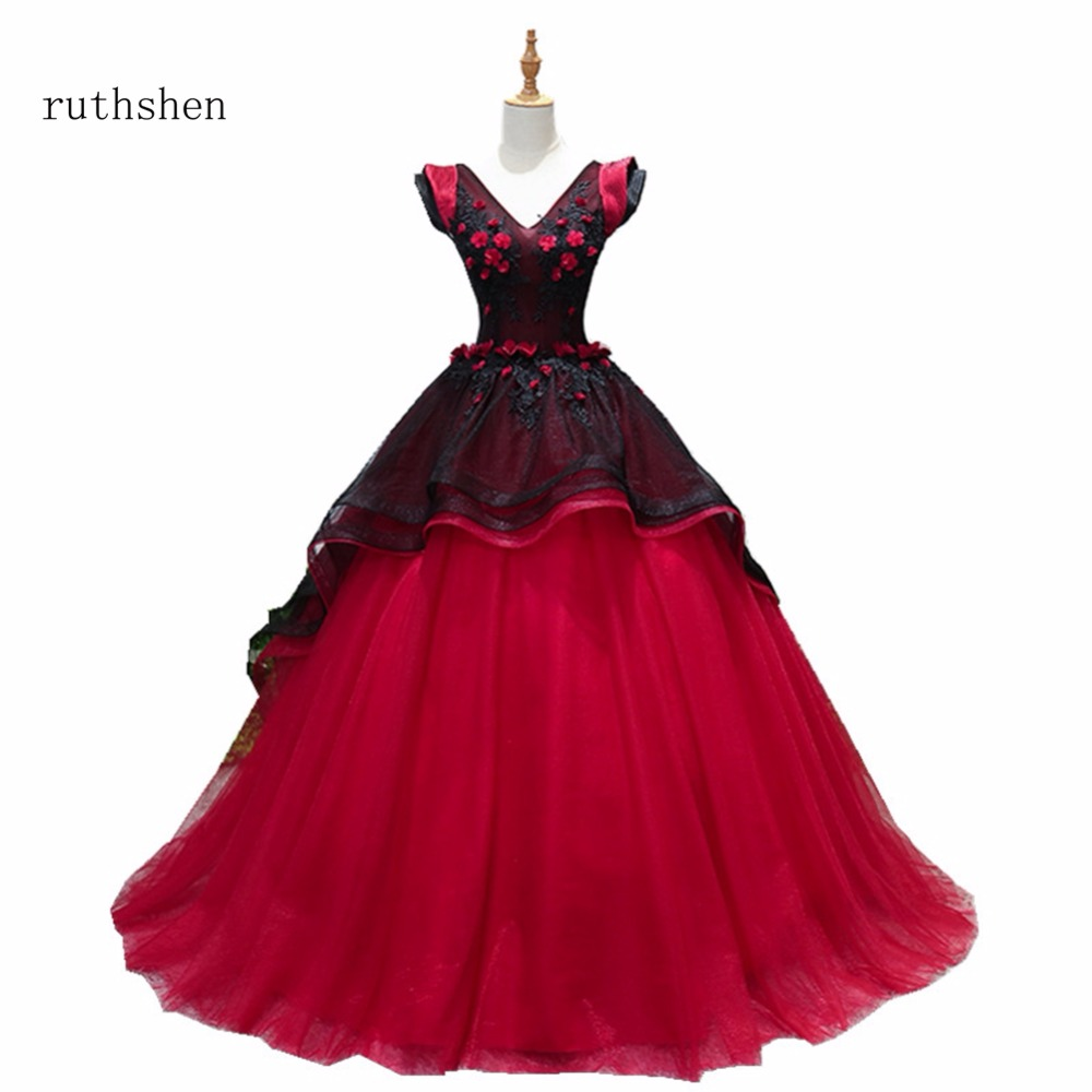 ruthshen 2018 Luxuey V Neck   Prom     Dresses   Long Party Gowns Sexy Tulle Ladies Formal Evening Gowns With Short Sleeves In Stock