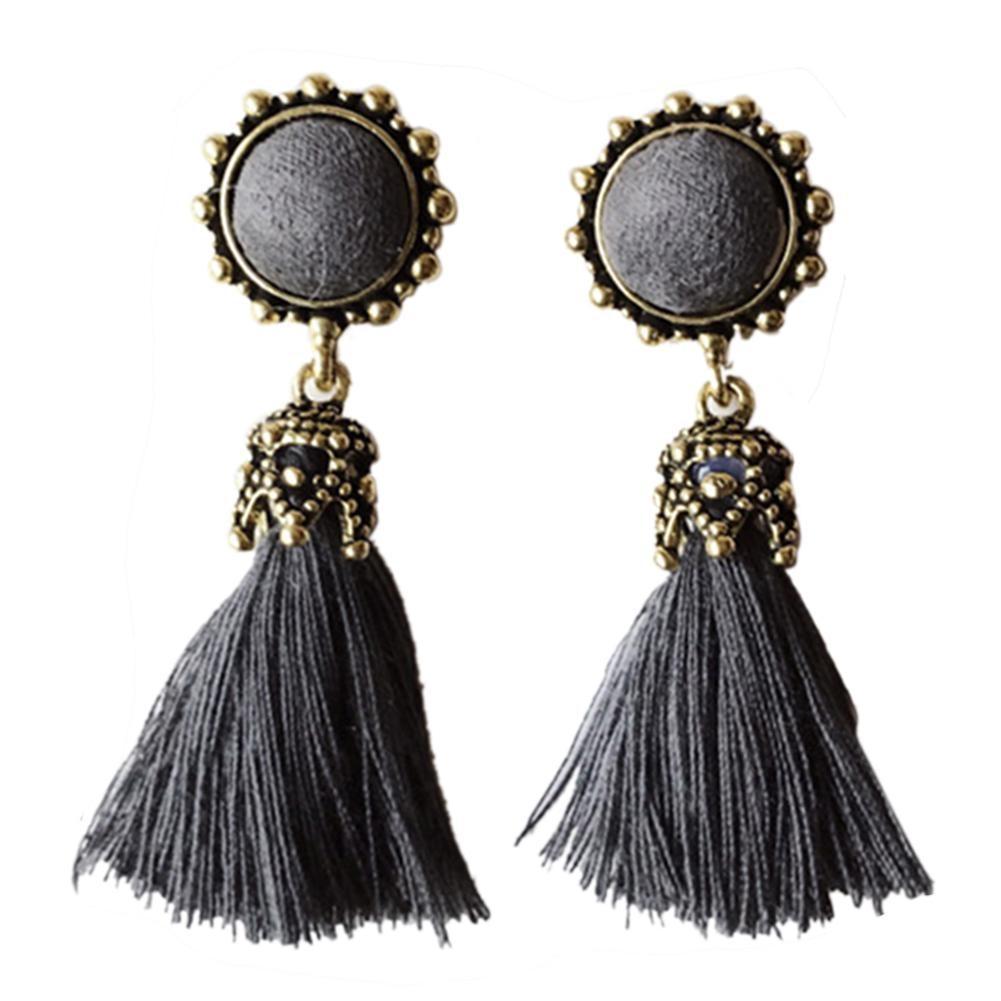 Vintage Boho Ethnic Round Dangle Statement Fringe Tassel Drop Earrings for Women Wedding Party Anniversary Jewelry Ornaments