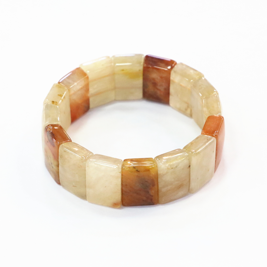 14x20mm Natural Stone Bangle Jades Chalcedony Geometry Yellow Beads Beaded Bracelet For  ...