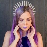 Quartz Aura Crystal Crown Headband Elegant Ash Rainbow Black Mermaid Shimmer Gothic Princess Festival Tiara Elven Headpiece