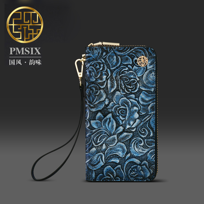 Pmsix 2017 Blue wallet Women Chinese style Vintage Long Wallets Cow Leather Party Purse bag P420011