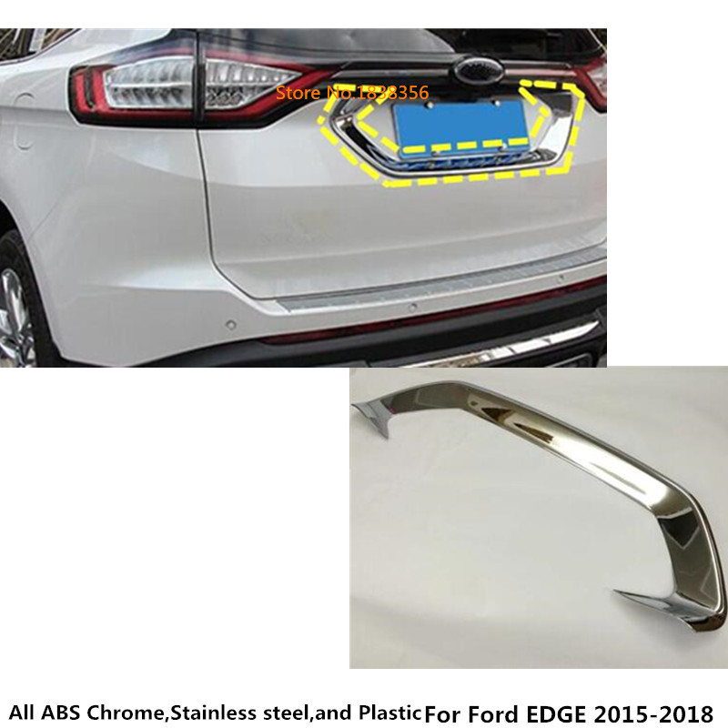 Car styling sticker detector ABS chrome back Rear license frame plate trim Strip bumper hoods For Ford EDGE 2015 2016 2017 2018