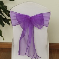 20Pcs Lot Wedding Organza 18 X 275cm Organza Chair Cover Sashes Bow Sash Wedding Banquet Party