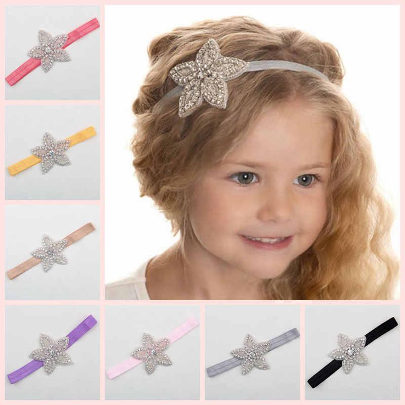 Children Baby Girls Rhinestone Flower Star Headband Hair bands Kids Girls  wedding Party Hair Accessories Princess 43ffa7434a3a
