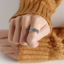 Silvology 925 Sterling Silver Irregular Carve Graffiti Rings Vintage Texture Elegant Female Open Jewelry
