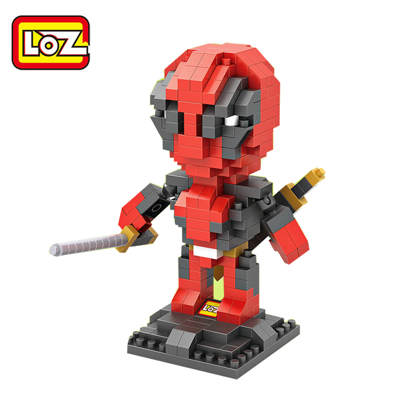 Byggstenar loz block X- Men's Deadpool anime figur handling plast leksak tegel barn leksaker Collectible present juguetes