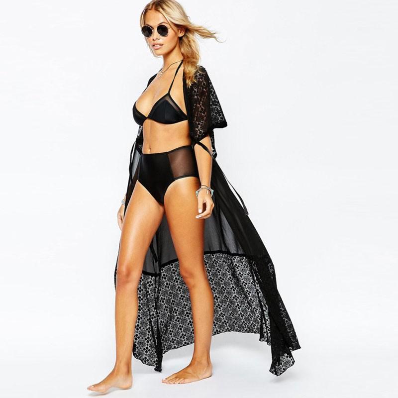 2016 moda lato sexy beach dress kobiety extra long lace tunique de plage plaży pareo plaża tunika sukienki 3