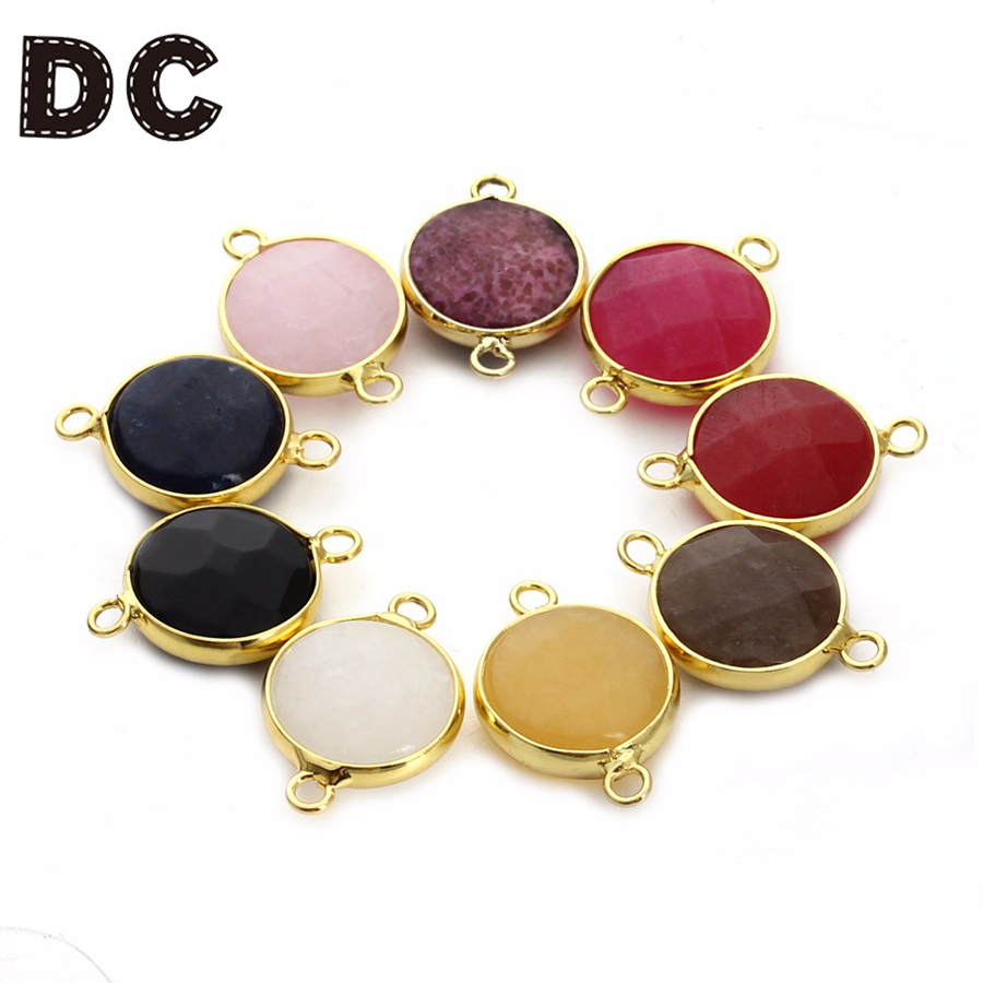 DC Natural Stone Halskjede Anheng Druzy Quartz Crystal Perle Bulk Armbånd Halskjede Charms Connector For DIY Smykker Making
