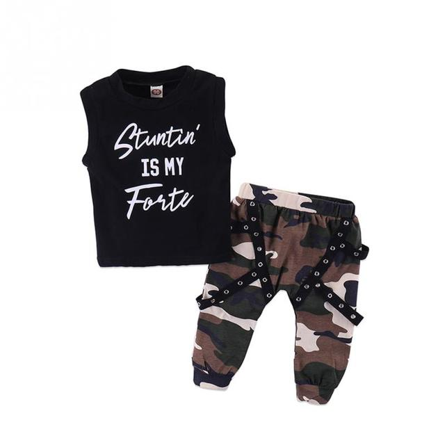 a31a53e4c0c Toddler Baby Boy Kids Letter Printed Vest T-shirt + Camo Sweatpants Summer  Outfit Set