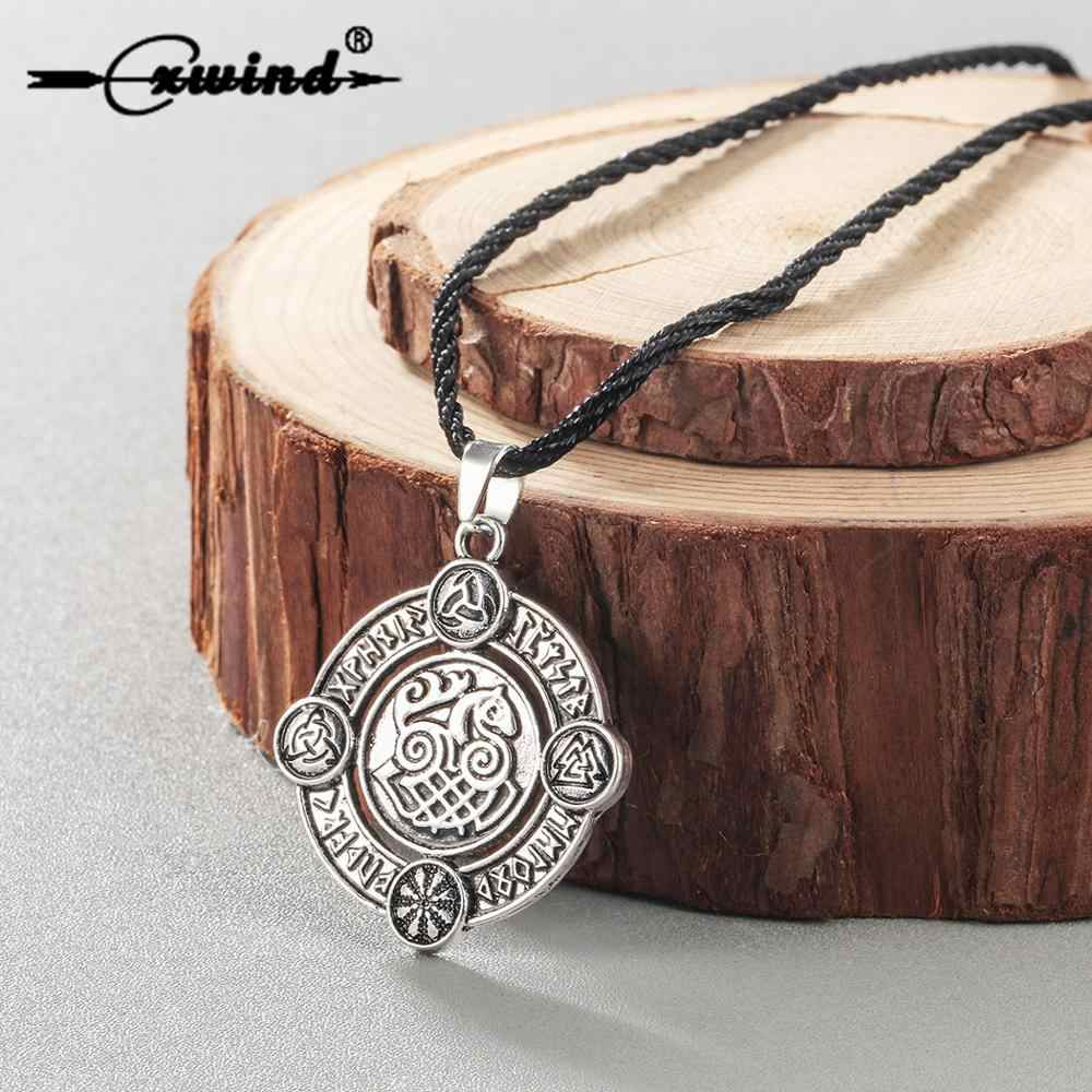 Cxwind Retro Horse นอร์สไวกิ้ง Runes จี้โกธิคสร้อยคอ Sleipnir Odin Medallion Amulet Vintage สร้อยคอเครื่องประดับ