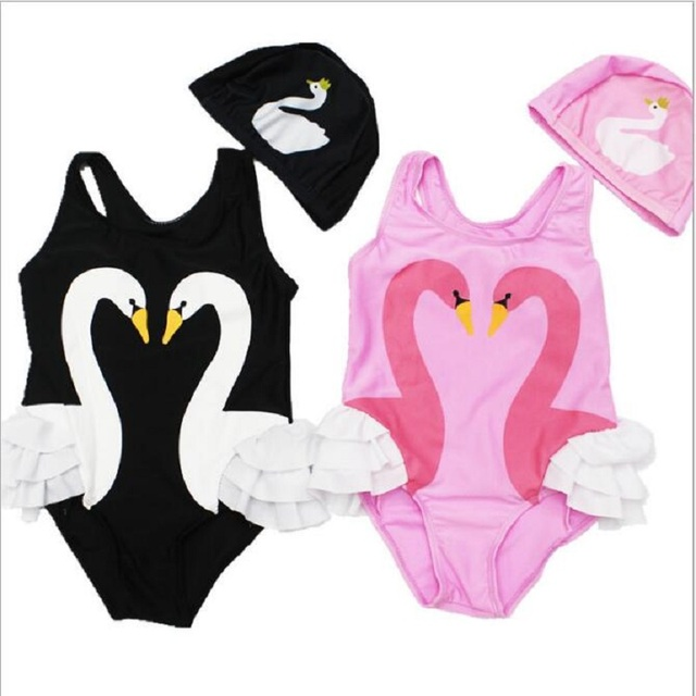 fe0e5d866d569 Girls Bikinis One Piece Swimsuits Baby Swimwear Children Bathing Suit Kids  Monokini Swan Flamingos Cartoon Summer Top qo406