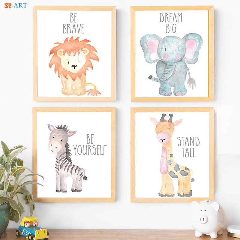 Us 3 98 17 Off Canvas Painting Watercolor Baby Animals Poster Elephant Lion Giraffe Zebra Prints Wall Art Kids Room Nursery Decor In