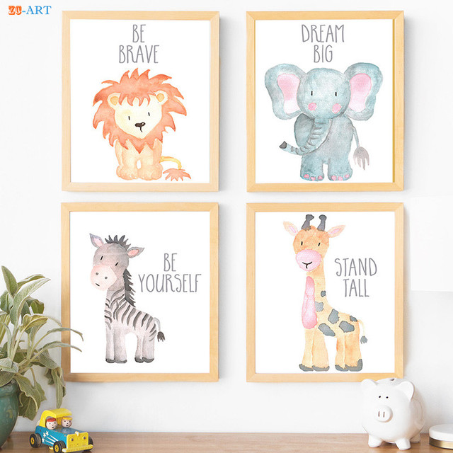 Canvas Painting Watercolor Painting Baby Animals Poster Elephant ...