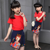 Family Clothing Set Mother Daughter Fashion Clothes Sets Short Sleeve T Shirt Cartoon Skirt 2 Pcs