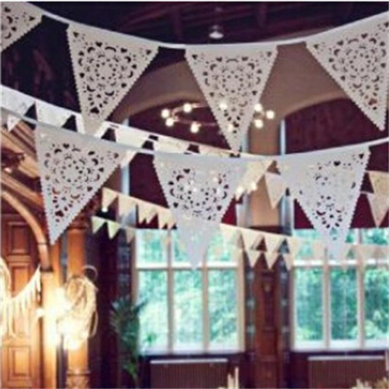 Lace Fabric Banner Pennant Wedding Hanging Flag Bunting