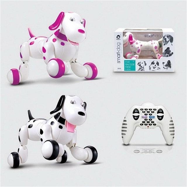 O Envio gratuito de Crianças Bonito JG 2.4G RC Robô Inteligente Cão Com 3.7 V Bateria Li RC Simulação Mini Cão Robô Inteligente Com Caixa