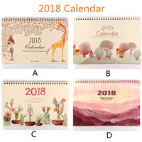 2018 Desktop Calendar Paperboard Cardboard Base Calendars Durable Cardboard Smooth Inside Pages Dual Metal Coils Memo