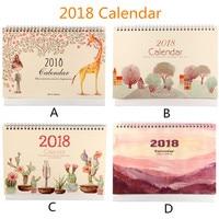 2018 Desktop Calendar Paperboard Cardboard Base Calendars Durable Cardboard Smooth Inside Pages Dual Metal Coils Memo