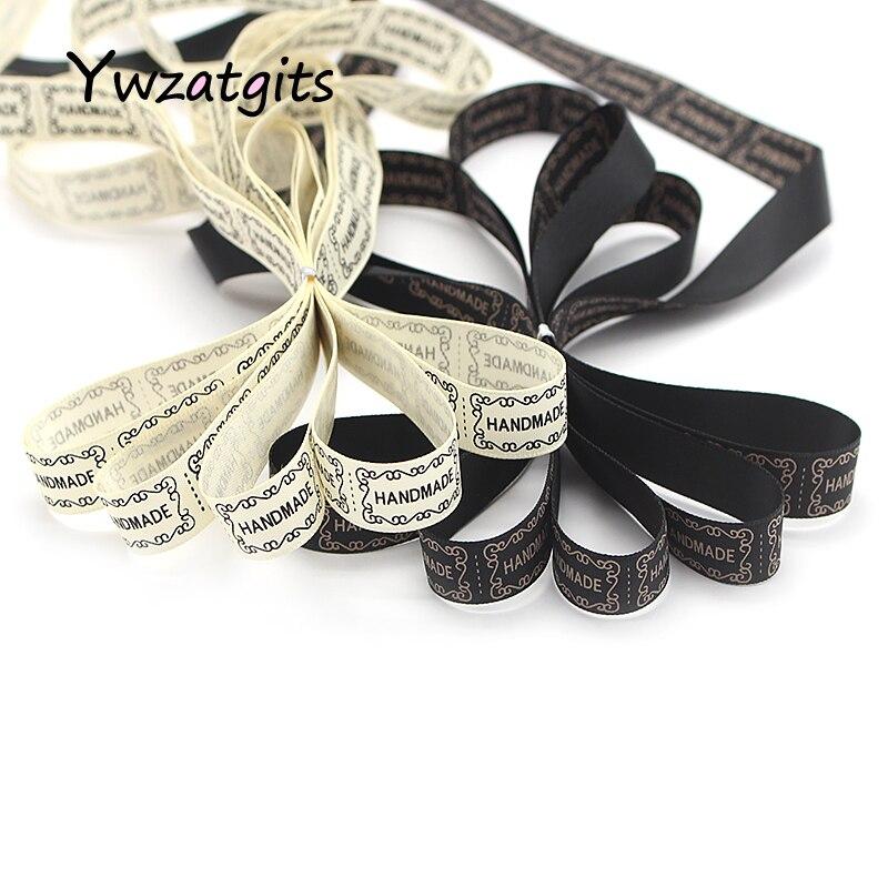 Ywzatgits 15 мм последняя печатные ручной работы Дизайн Атлас Ленты для одежды отделкой Вышивание DIY упаковка подарка Материал 3y/лот 040054222