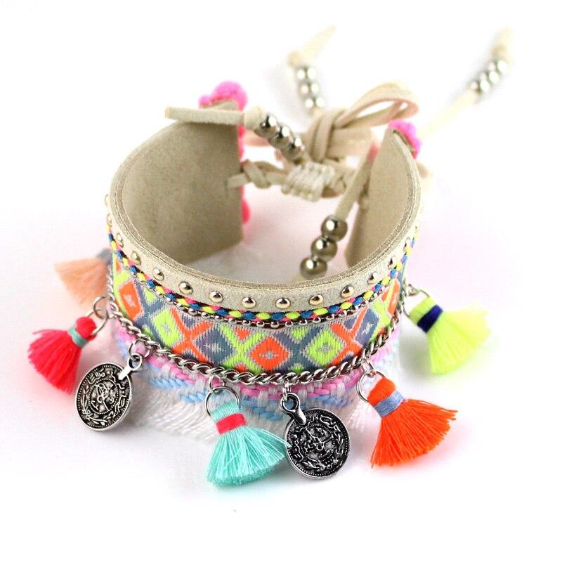 Vintage Tribal Bohemian Colorful Leather Bracelet Boho Silver Alloy coin Bracelet Cuff Femme Male Wrist Band