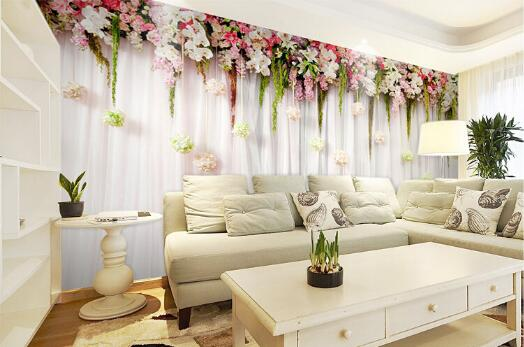 photo wallpaper quality  Romantic flowers hanging cozy bedroom wedding venue meal large mural