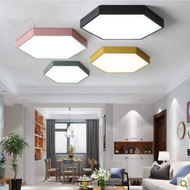 Iron hexagon lamps LED ceiling lights SIZE 30cm height 5cm Ironware     Iron hexagon lamps LED ceiling lights SIZE 30cm height 5cm Ironware and  Acrylic kitchen bed room