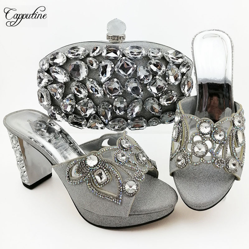 Excellent silver wedding/party sandal shoes and evening bag set with luxury crystal stones QSL007 heel height 9cm