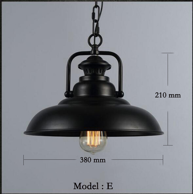 Industrial Vintage Pendant Lights with E27 Edison Bulb, American Country Style Loft Iron Retro Pendant Lamp for Kitchen, Black