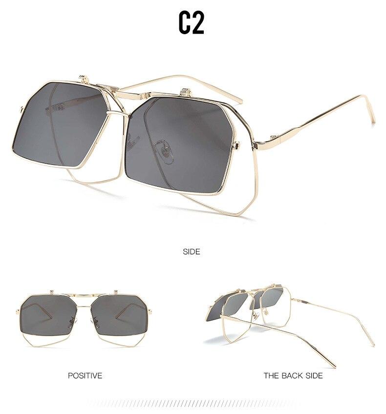 88ce660c39 DAVE Punk Flip gafas de sol de las mujeres de gran tamaño cuadrado ...