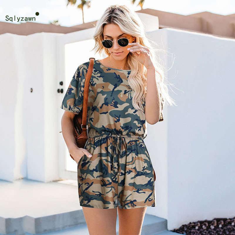 Women Summer Fashion O Neck Short Sleeve Camouflage Printed Playsuits Streetwear Loose Wide Leg Shorts Romper Sexy Camo   Jumpsuit
